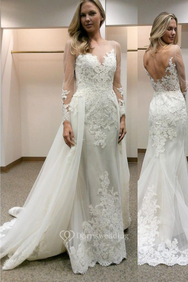 Long Sleeves Sheath Wedding Dress with Lace Detachable Train ...