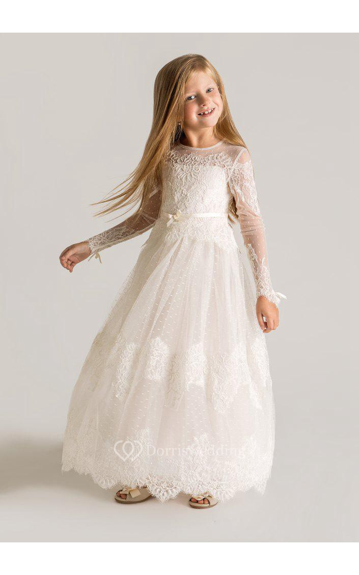 Modern tulle lace a line flower girl dress 2018 long for Modern long sleeve wedding dresses