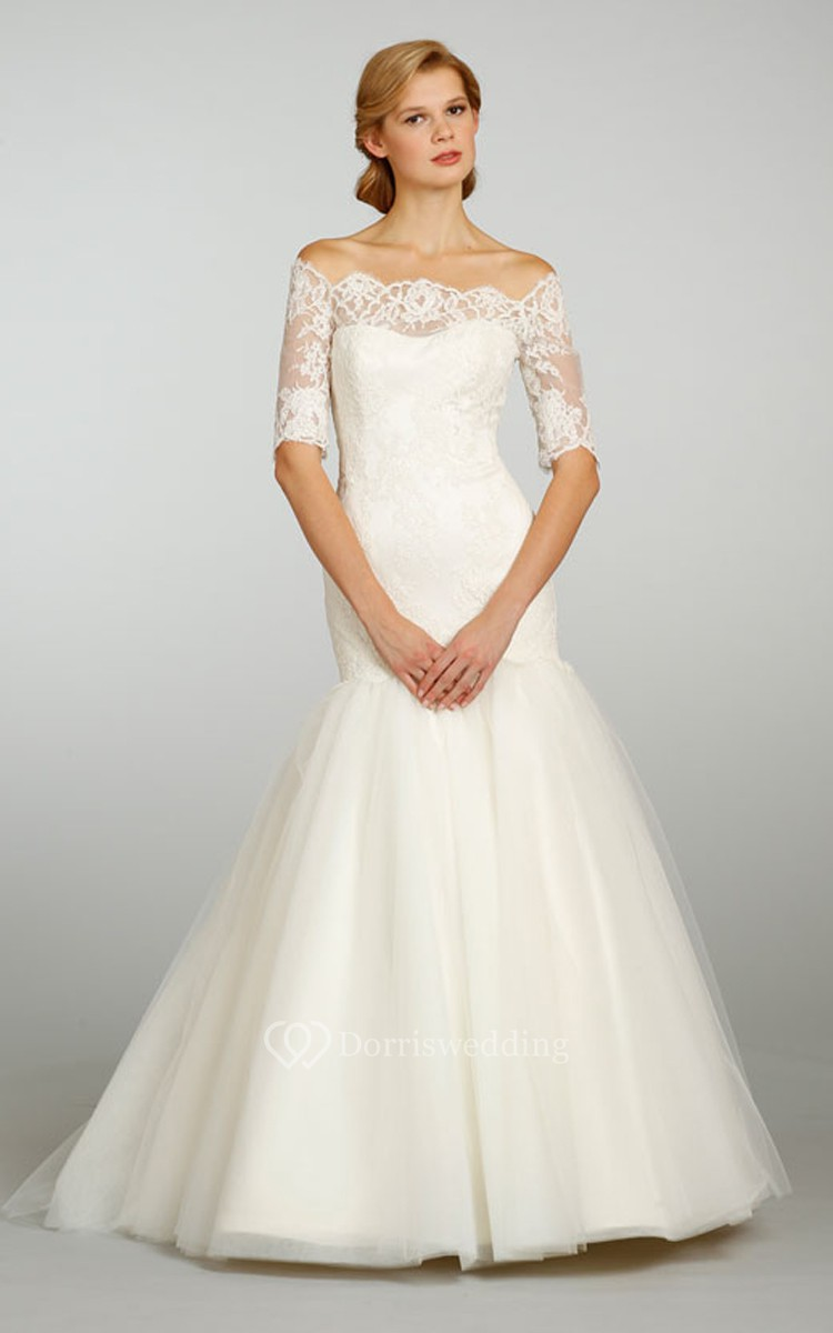 Classic off the shoulder tulle ball gown with 3 4 lace for 3 4 sleeve ball gown wedding dress