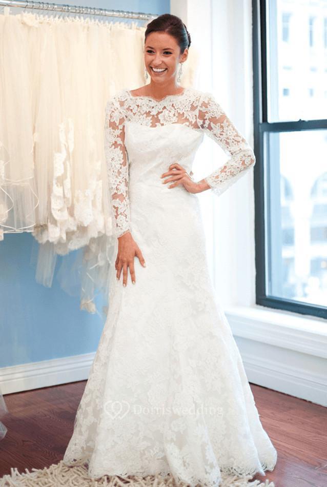 Mands Dresses For A Wedding : Elegant lace long sleeve wedding dress white sweep