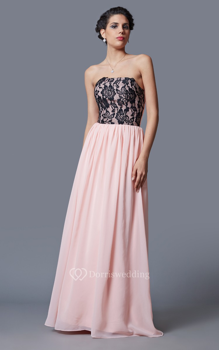 Strapless pleated a line chiffon dress with floral for Strapless dresses for wedding guests