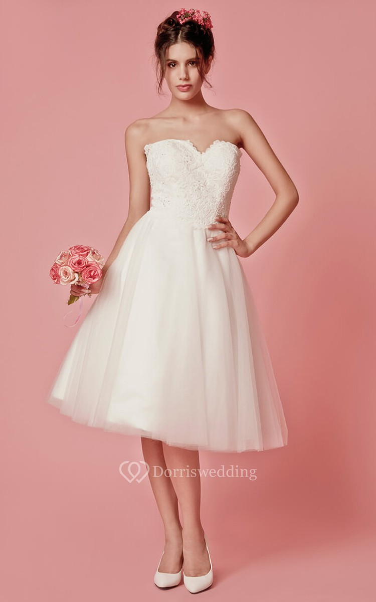 Classic femme sleeveless tea length wedding dress with for Tea length wedding dress with bolero jacket