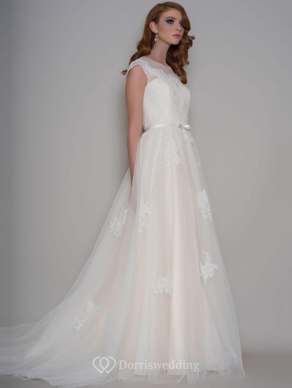 Long Scoop-Neck Appliqued Cap-Sleeve Tulle Wedding Dress ...