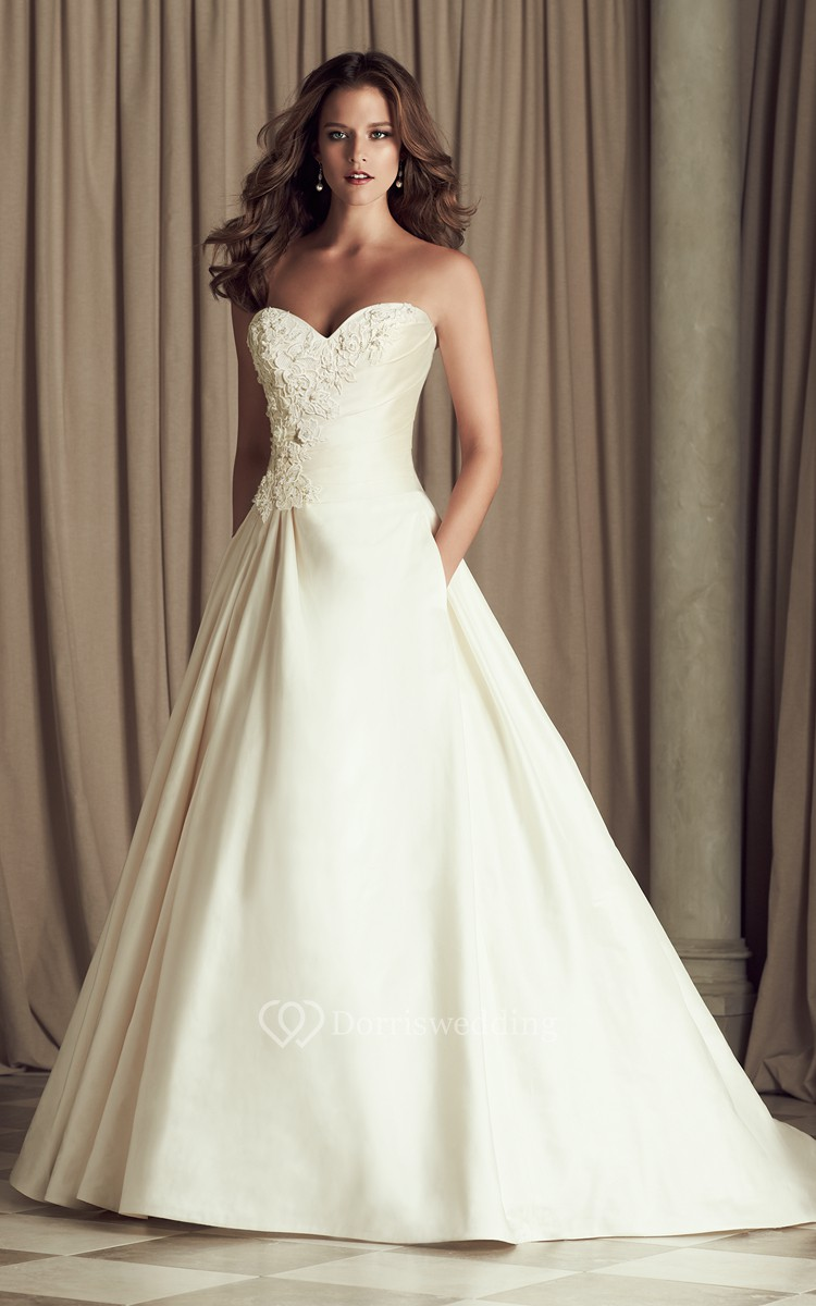 Sweetheart satin a line long dress with ruching dorris for A line wedding dress with ruching