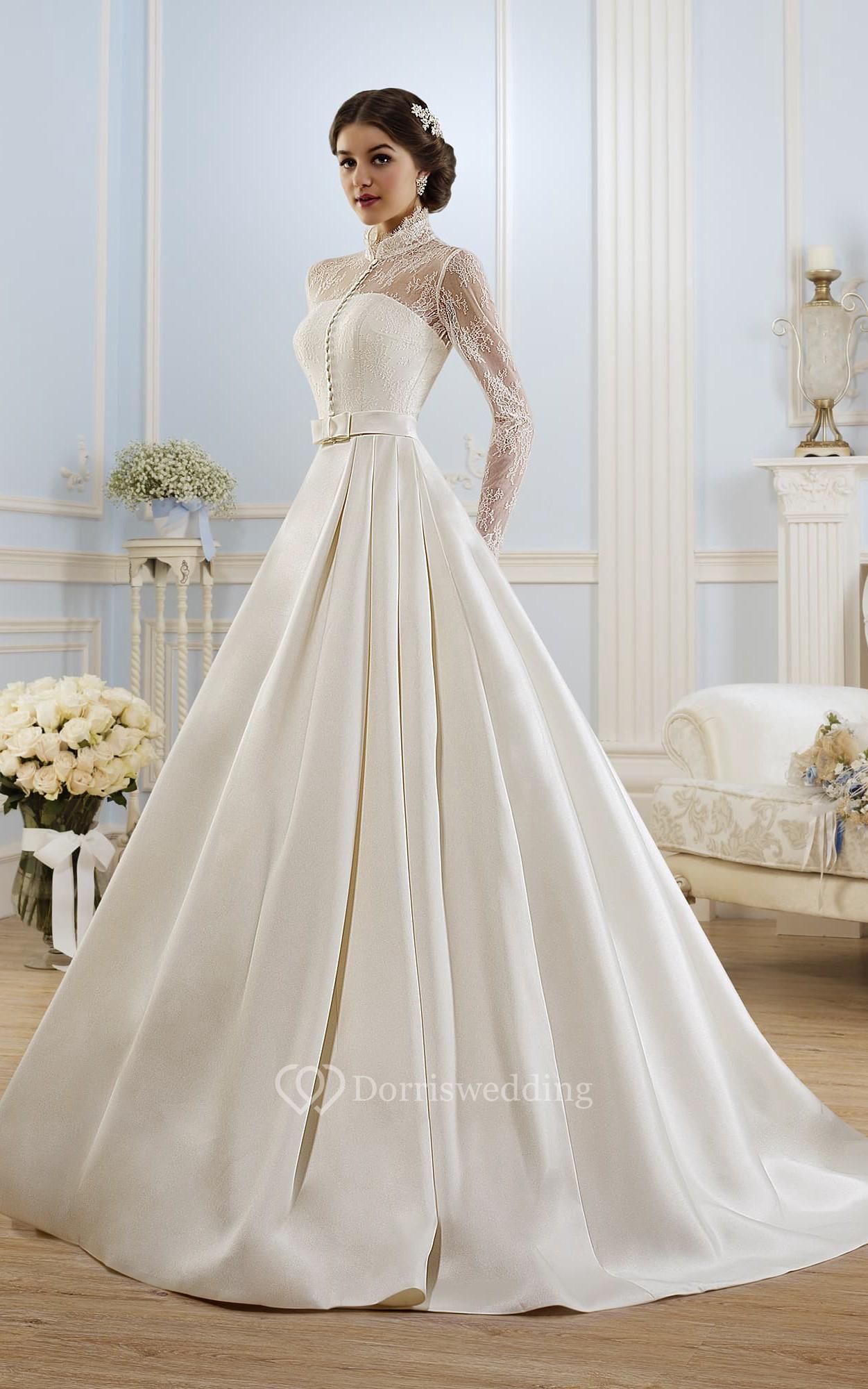 Ball gown long high neck long sleeve illusion satin dress for Long silk wedding dress