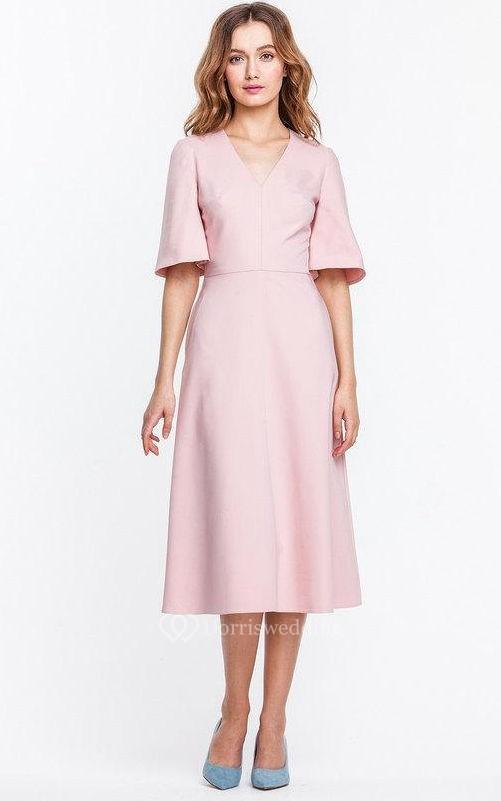 V neck bell sleeve a line satin knee length dress dorris for Below the knee dresses for wedding