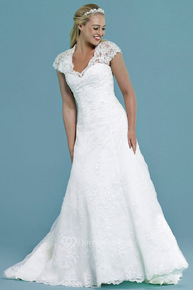 Cap-Sleeve V-Neck Appliqued Long Lace Wedding Dress - Dorris Wedding
