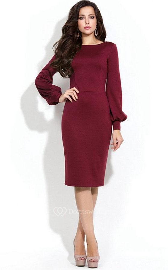 Bateau Long Puff Sleeve Sheath Jersey Knee Length Dress