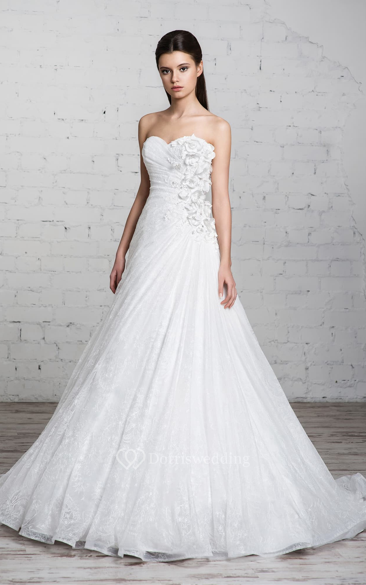 Long sweetheart a line lace wedding dress with ruffles and for A line wedding dress with ruching