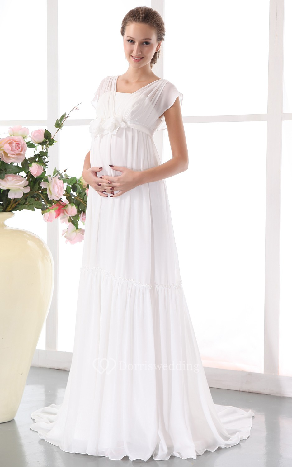 Chiffon pleated maternity dress with floral waistband for Maternity wedding dresses under 100