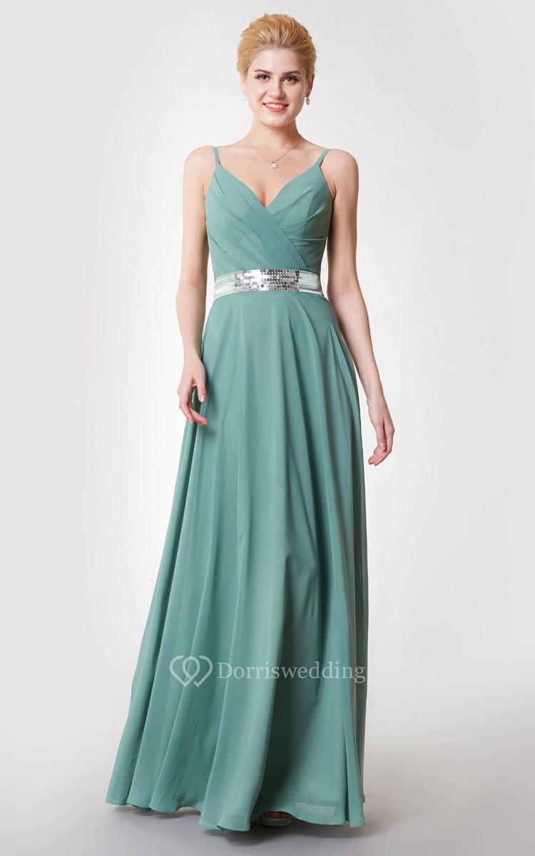spaghetti v neck chiffon dress with sequin belt