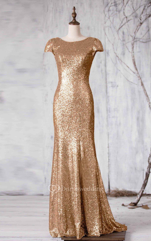 Bateau cap sleeve sequined mermaid long dress with v back for Long sleeve sequin wedding dress