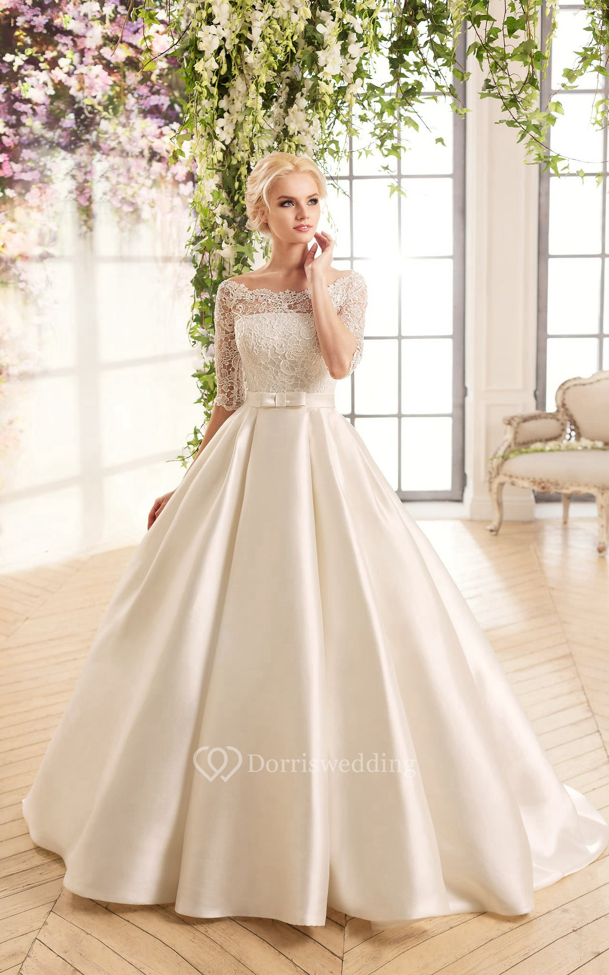 Ball gown long bateau half sleeve illusion satin dress for High low ball gown wedding dress