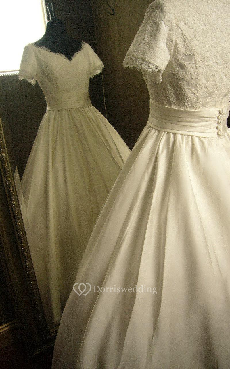 V neck short sleeve pleated satin dress with lace bodice for Cinched waist wedding dress
