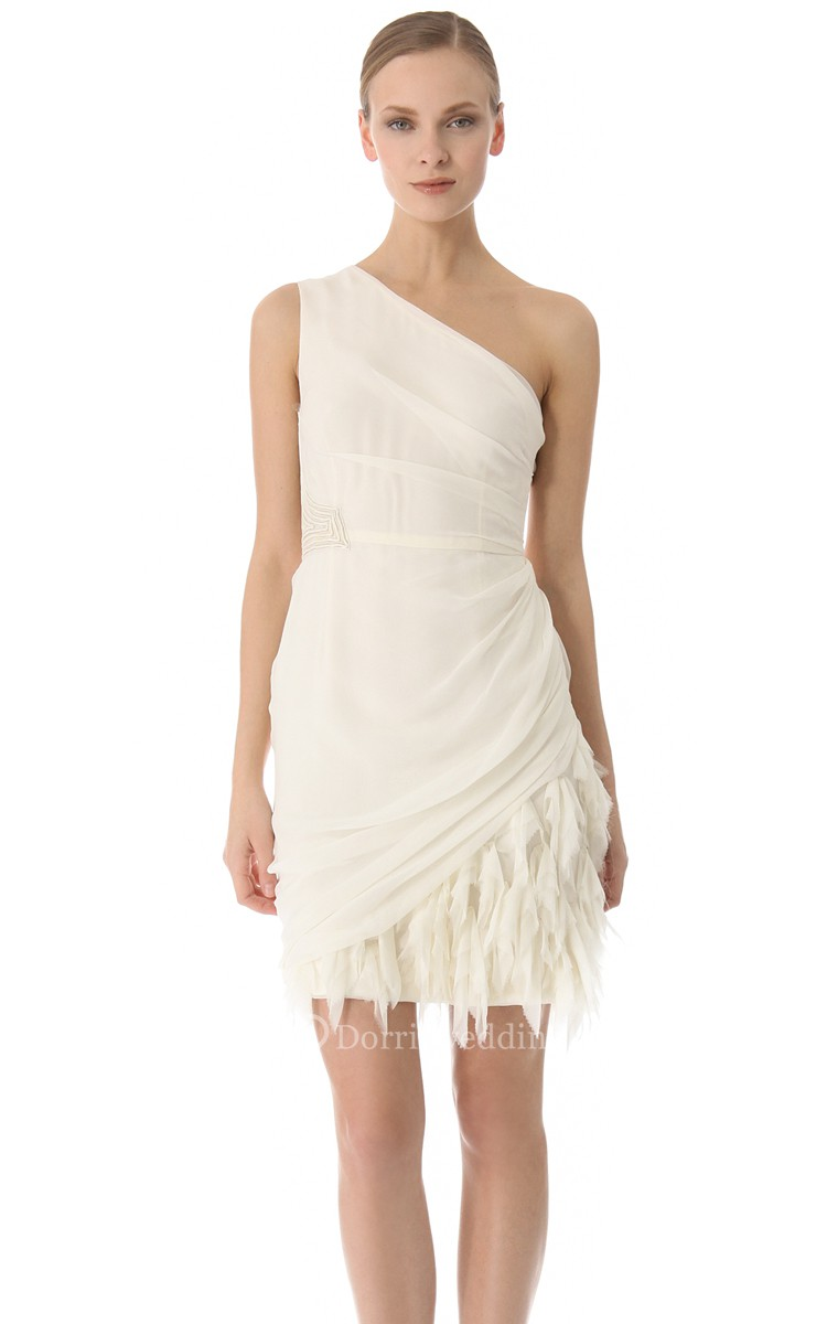 Short one shoulder sheath side draped chiffon dress for Short sheath wedding dress