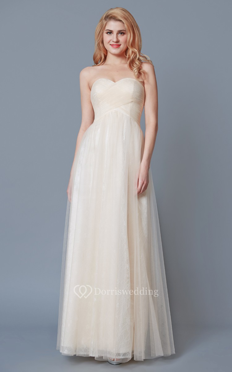Sweetheart Empire Waist A-line Tulle Dress With Lace Liner - Dorris ...