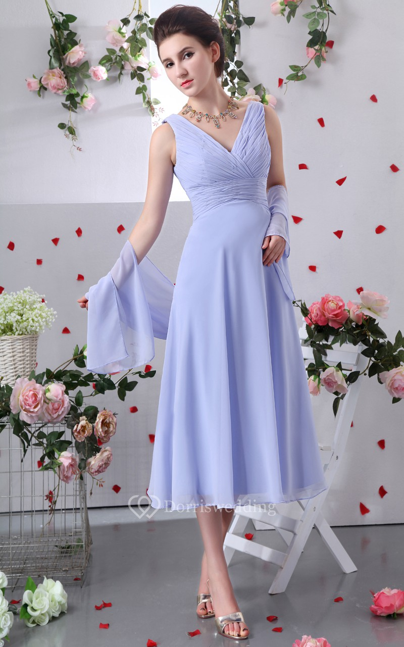 Chiffon v neck tea length dress with criss cross ruching for Mother of the bride dresses for outdoor summer wedding