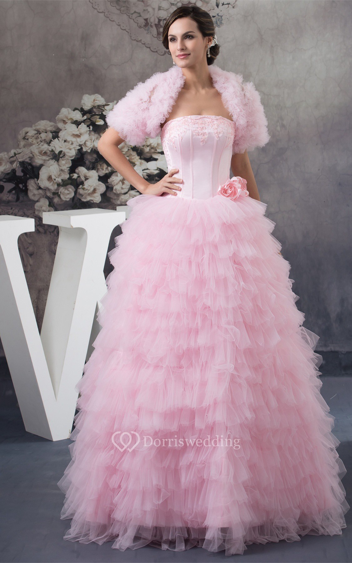 Sleeveless ruffled bolero and ball gown with appliques for Fairytale inspired wedding dresses