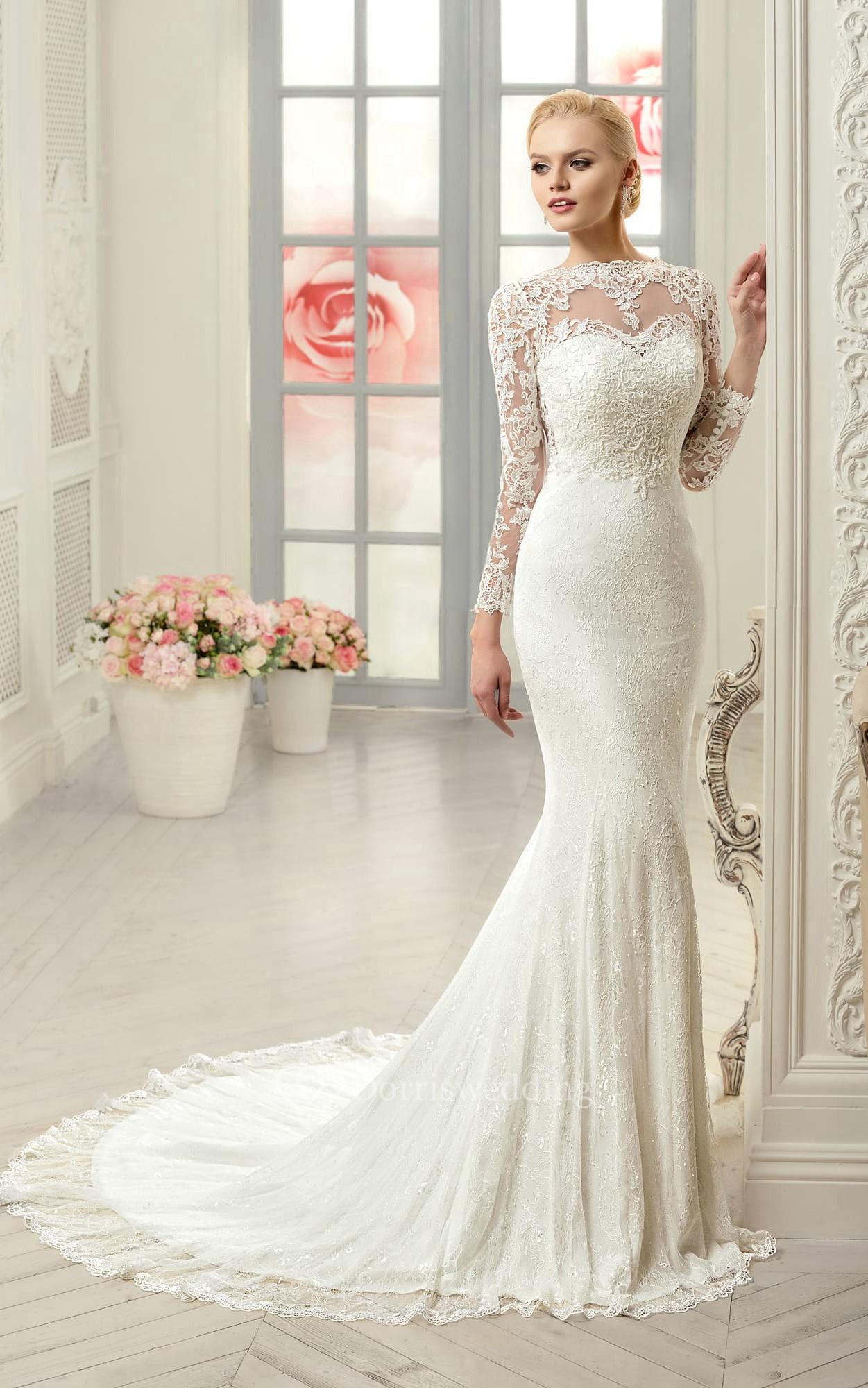 sheath long jewel longsleeve illusion lace dress with