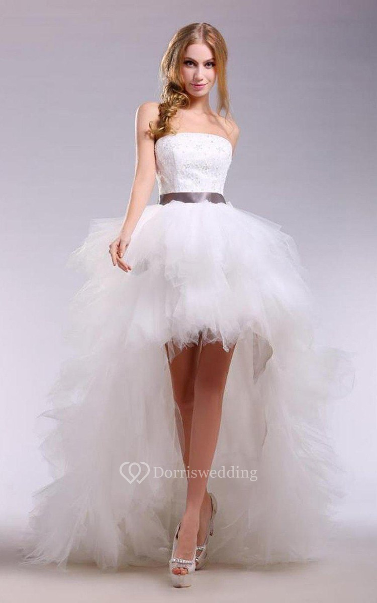 Strapless High Low Tulle Dress With Satin Sash Dorris