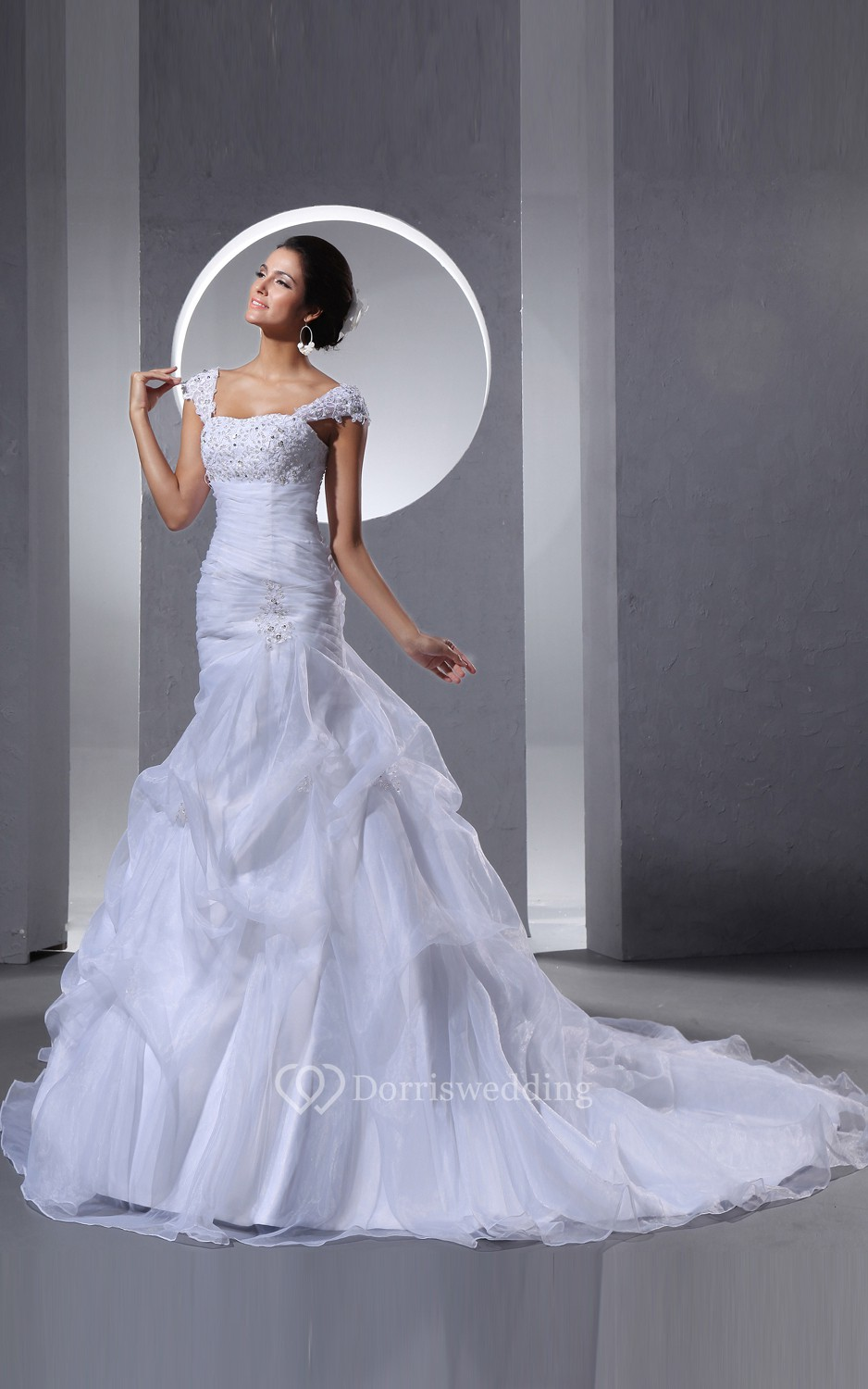 Queen anne neckline organza dress with ruffles and beading for Queen anne neckline wedding dress