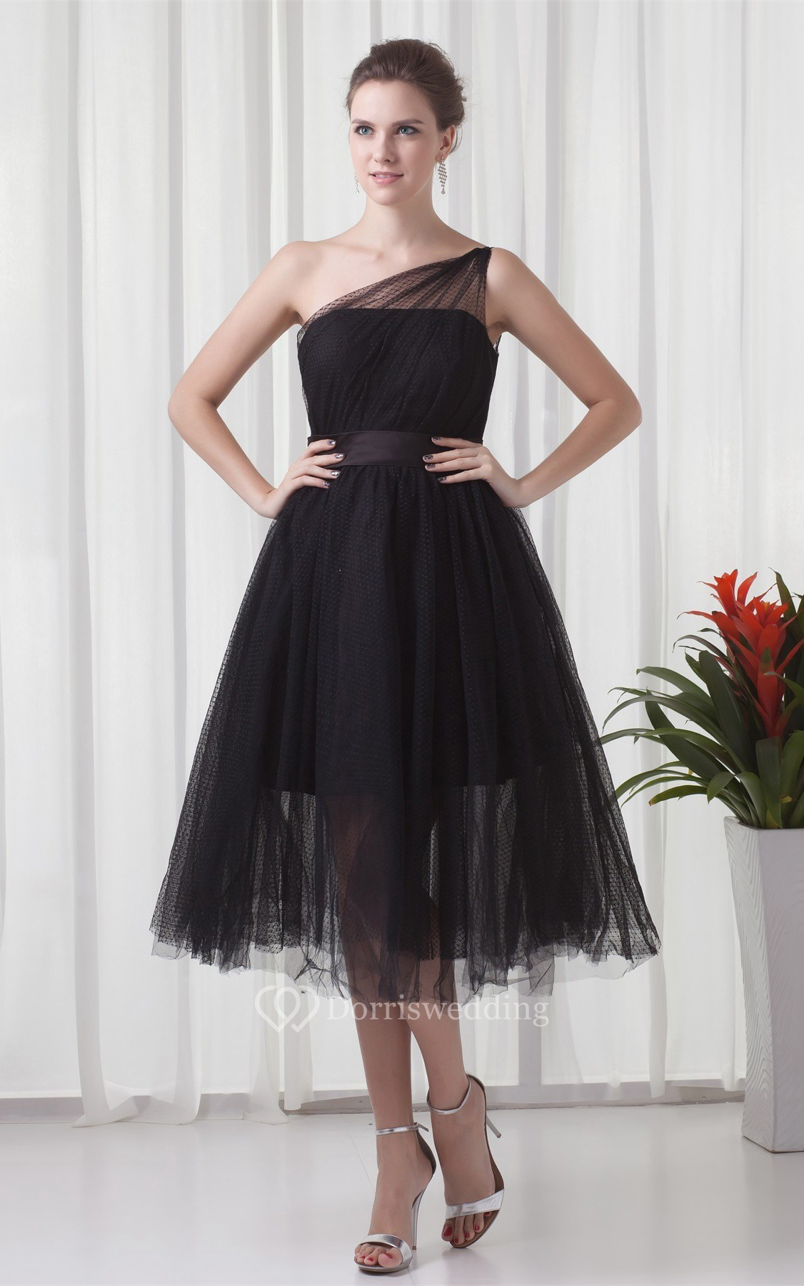 e Shoulder Tulle Tea Length A Line Dress With Ruching