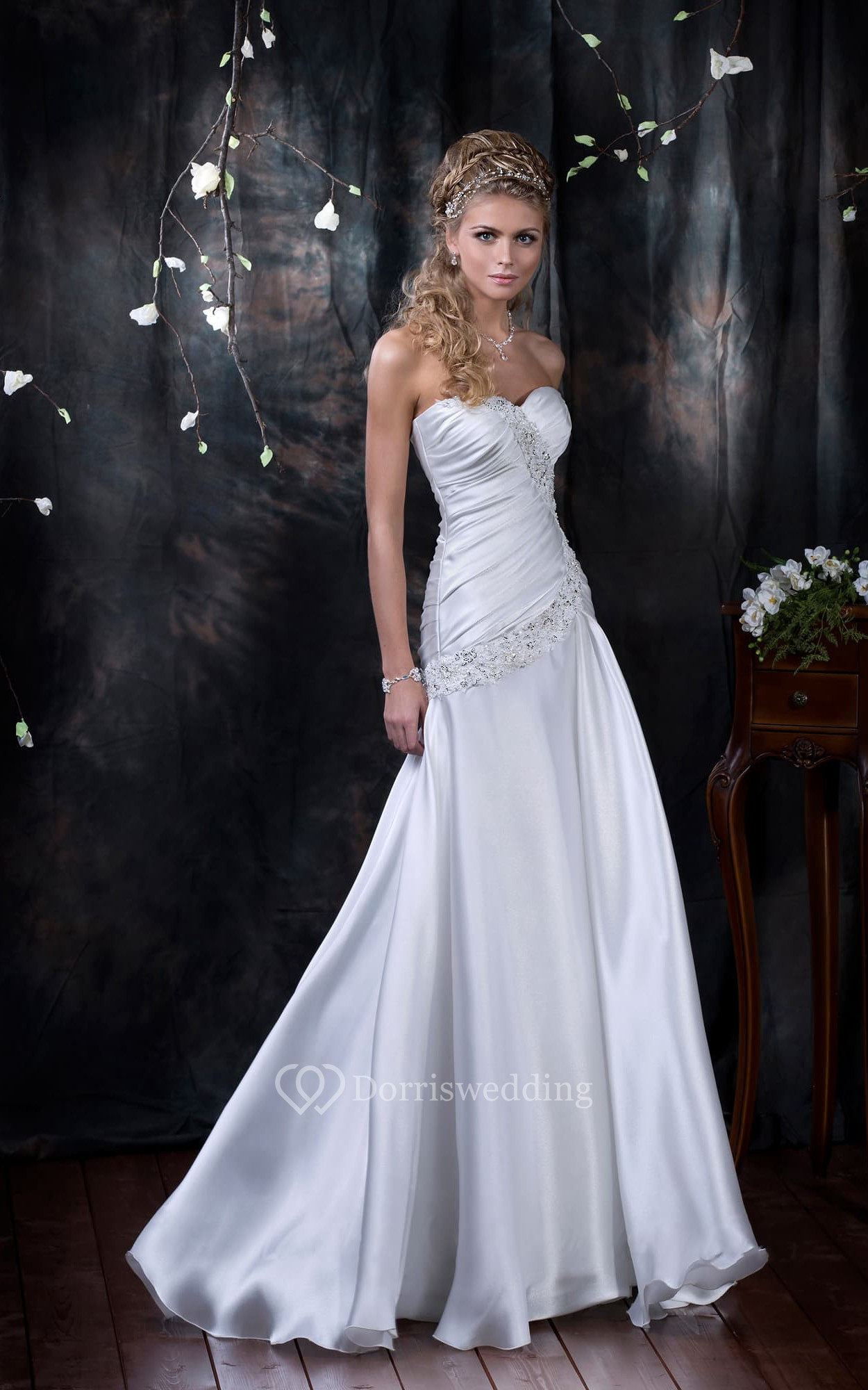 Sheath floor length sweetheart sleeveless corset back for Sheath wedding dress with beading and side drape