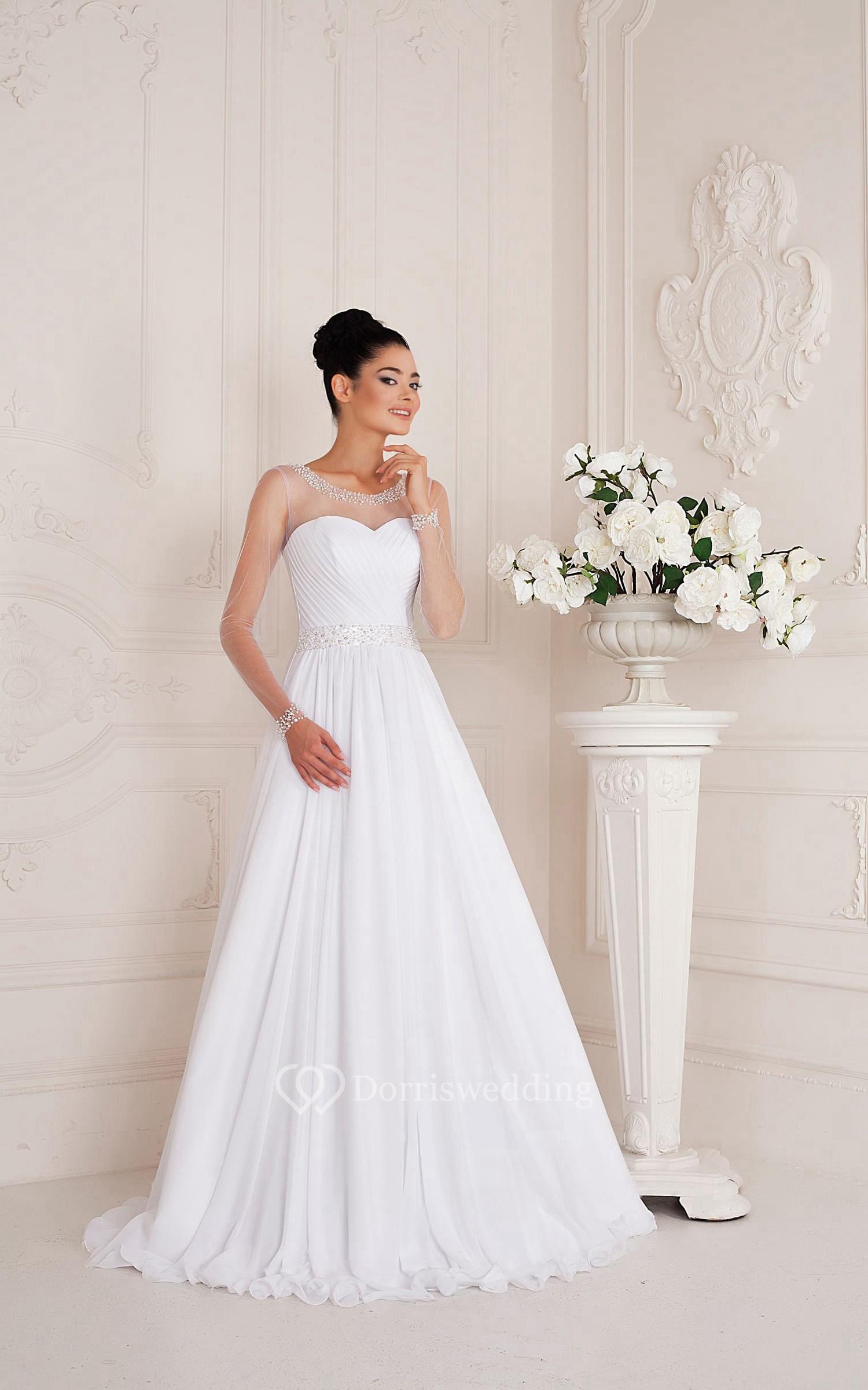 Scoop neck long sleeve a line chiffon wedding dress with for A line wedding dress with ruching