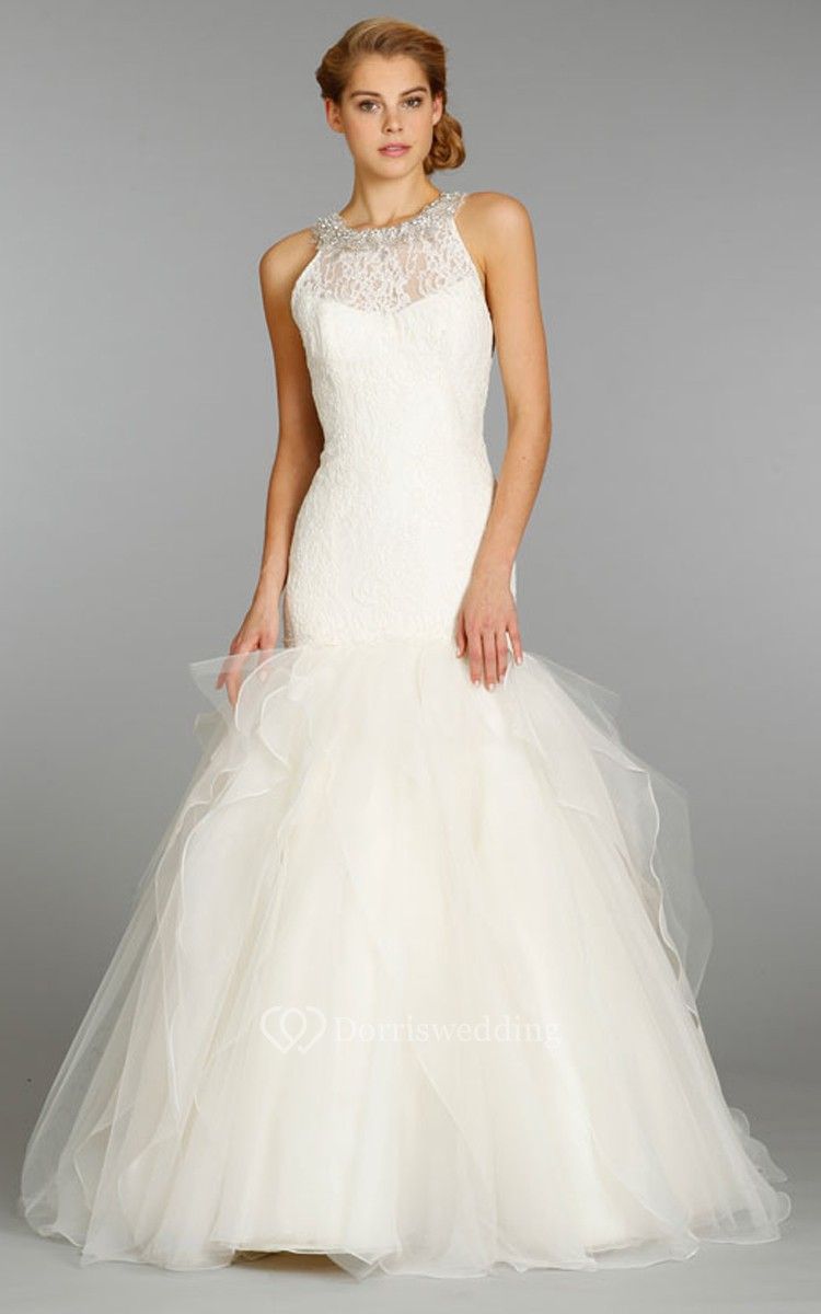 Elegant lace bodice organza tulle dress with crystal for Tulle and organza wedding dresses