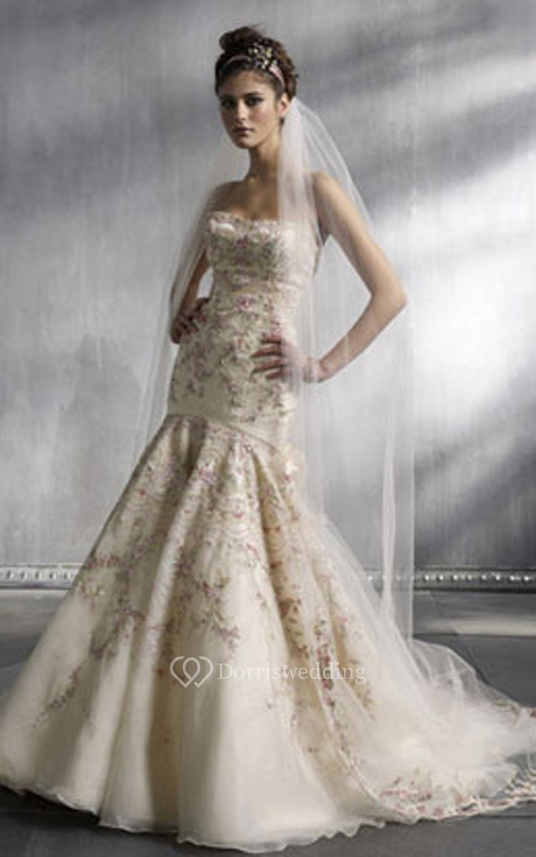 Gorgeous strapless floor length dress with floral for Flower embroidered wedding dress