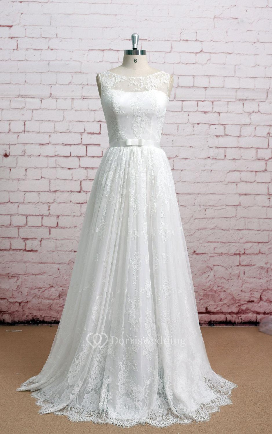 Bateau neckline sleeveless lace a line long dress with for Wedding dresses for small breasts
