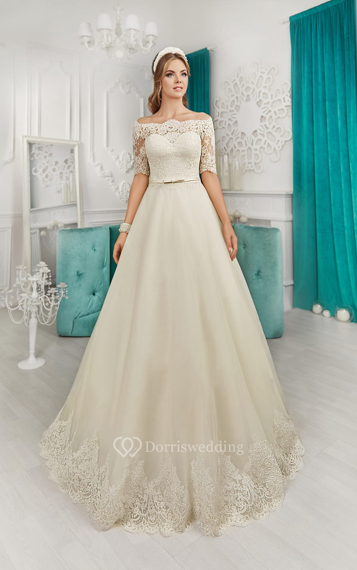 Off the shoulder lace top appliques dress with bow for Off the shoulder wedding dress topper