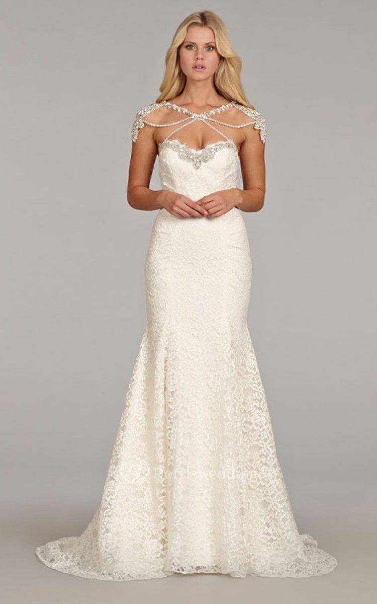 Luxurious sweetheart neckline lace fit and flare gown with for Fit and flare wedding dress with sweetheart neckline