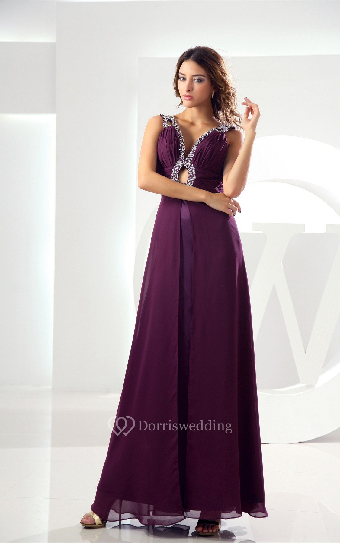 Plunged Ankle Length Chiffon Keyhole and Dress With