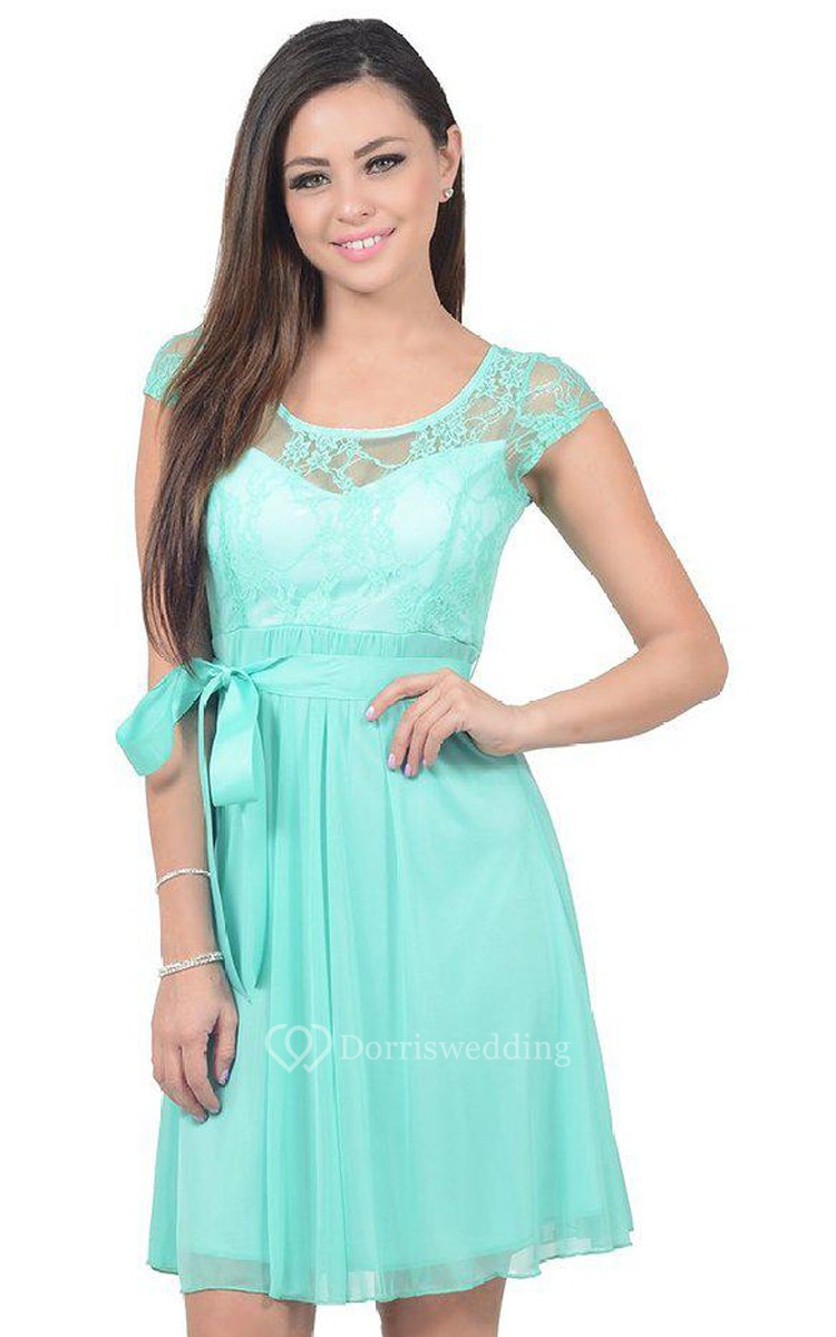 Cap sleeved a line dress with illusion neckline and bow for Wedding guest dresses for middle aged