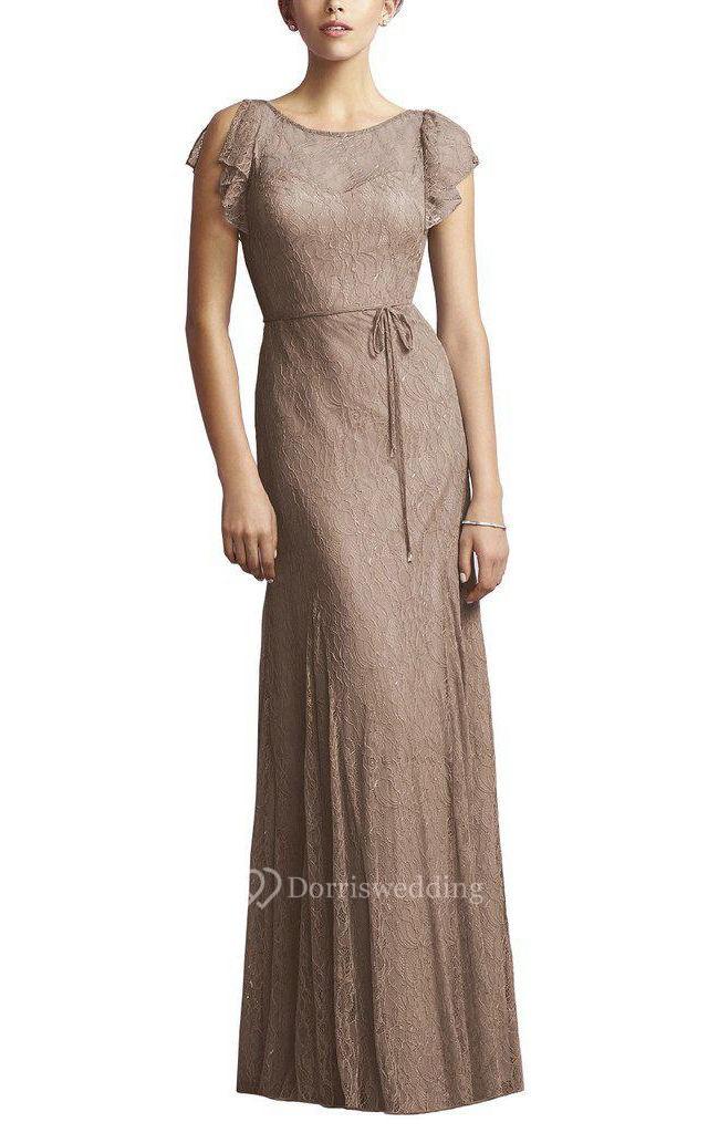 Cap sleeve sheath lace floor length bridesmaid dress with for Cap sleeve sheath wedding dress