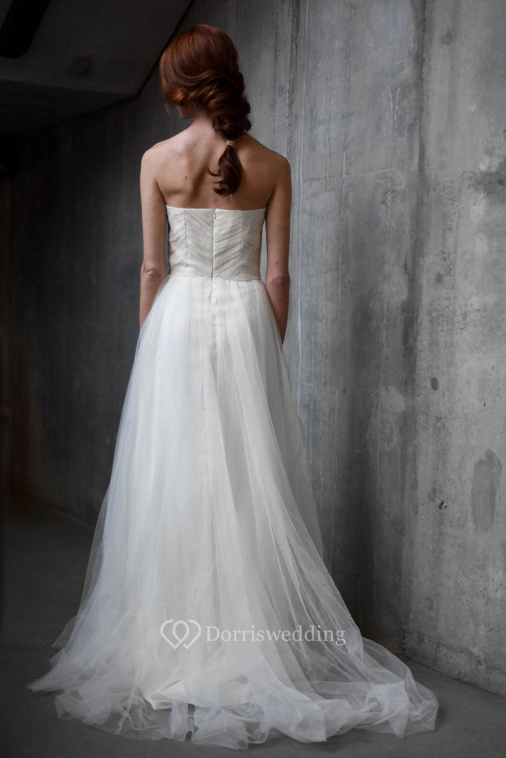 A line sweetheart tulle dress with ruching and pleats for A line wedding dress with ruching