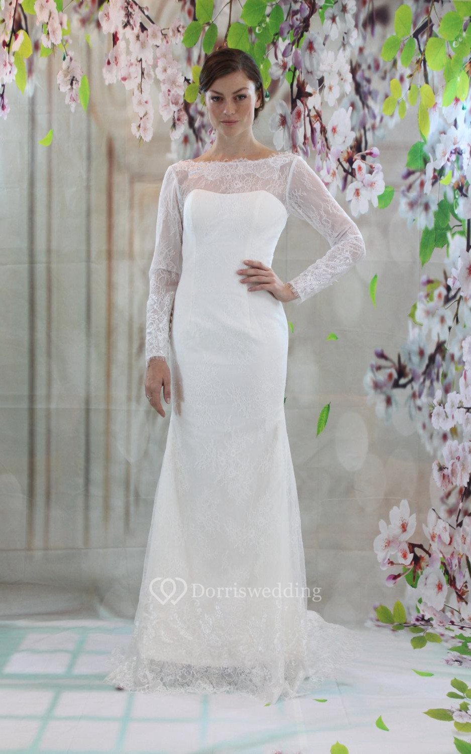 Column long sleeve bateau neck lace dress with low v back for Wedding dresses women over 40