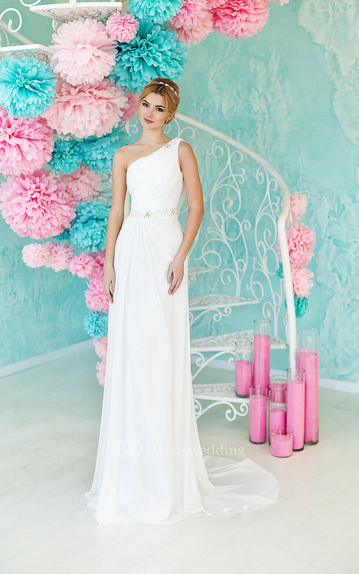 Sheath Floor-Length One-Shoulder Sleeveless Lace-Up Chiffon Dress With Ruching And Beading