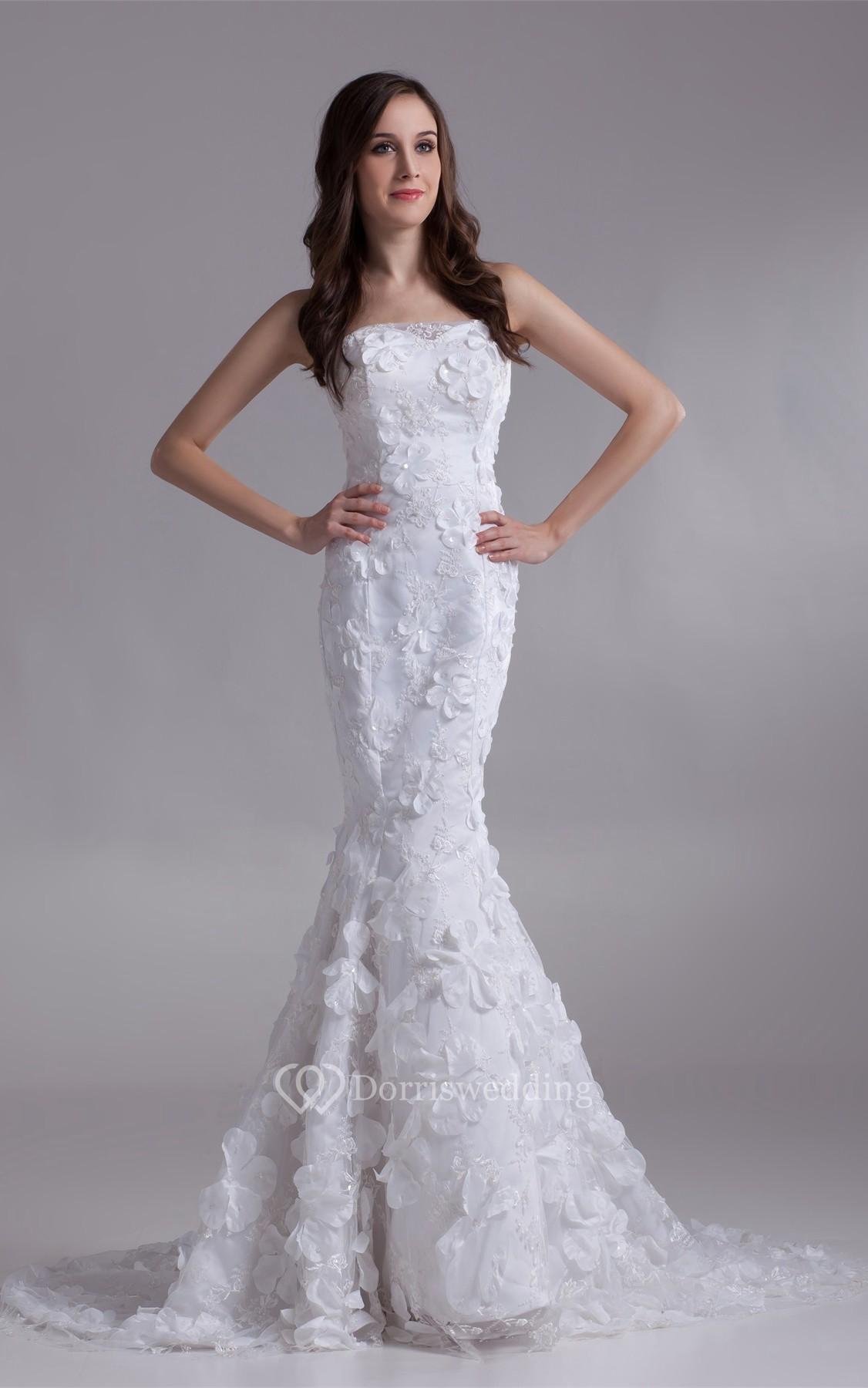 Impressive strapless satin appliqued trumpet sleeveless for Satin trumpet wedding dresses