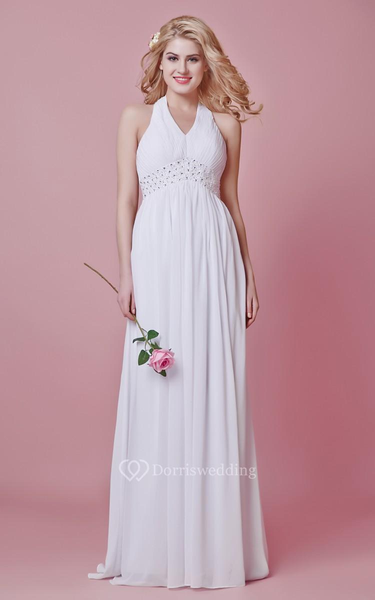 Inspired halter empire wedding dress with beaded waist for Halter empire waist wedding dresses