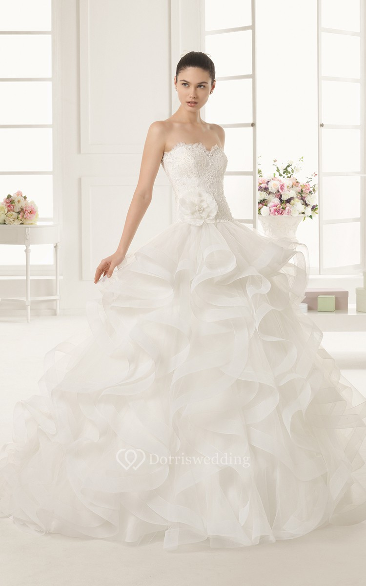 Long dress with cascading ruffles and giveaway overall for Cascading ruffles wedding dress