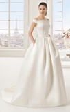 Satin Off-Shoulder Ball Gown With Lace Bodice