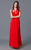 Sassy Sleeveless Long Dress with Appliques and Strappy Back
