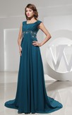 Chiffon Floor-Length Beaded Dress With Pleats and Ruching