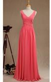 V Neck A-line Pleated Chiffon Floor Length Dress V Back