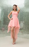 Sleeveless High-Low Chiffon Beading Waist and Dress With Ruching