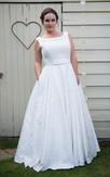 A-Line Floor-Length Bateau Neck Sleeveless Satin Lace Dress