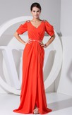 Half Sleeved V-Neck Ruched Gown With Side Draping and Sweep Train