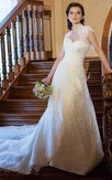Mermaid Floor-Length Sweetheart Illusion Lace Dress With Beading And Cape